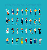 flat profession characters. Human icon. Profession icon. Friendly people icon. Woman icon. Lady icon. Man icon. Girl icon. Boy icon. Icon set.
