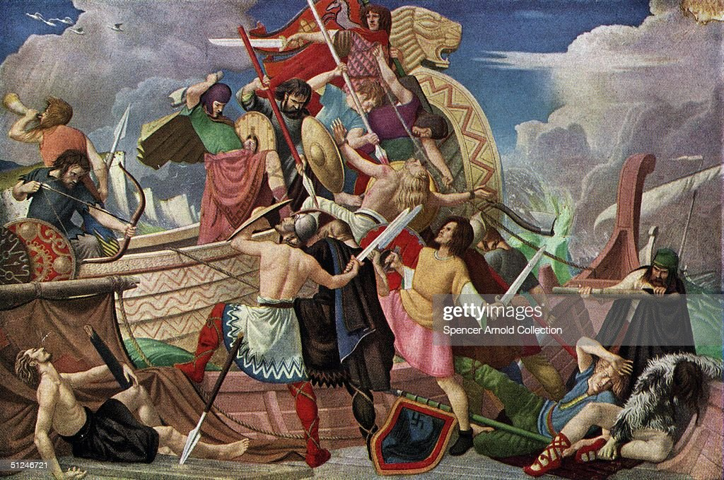 878 AD, A fleet of Danish longboats suffers defeat by King Alfred the Great's navy at Swanage in Dorset. The Vikings had been trying to wrest leadership of England from the Anglo-Saxons for two centuries, and continued to do so for years to come. Original Artwork