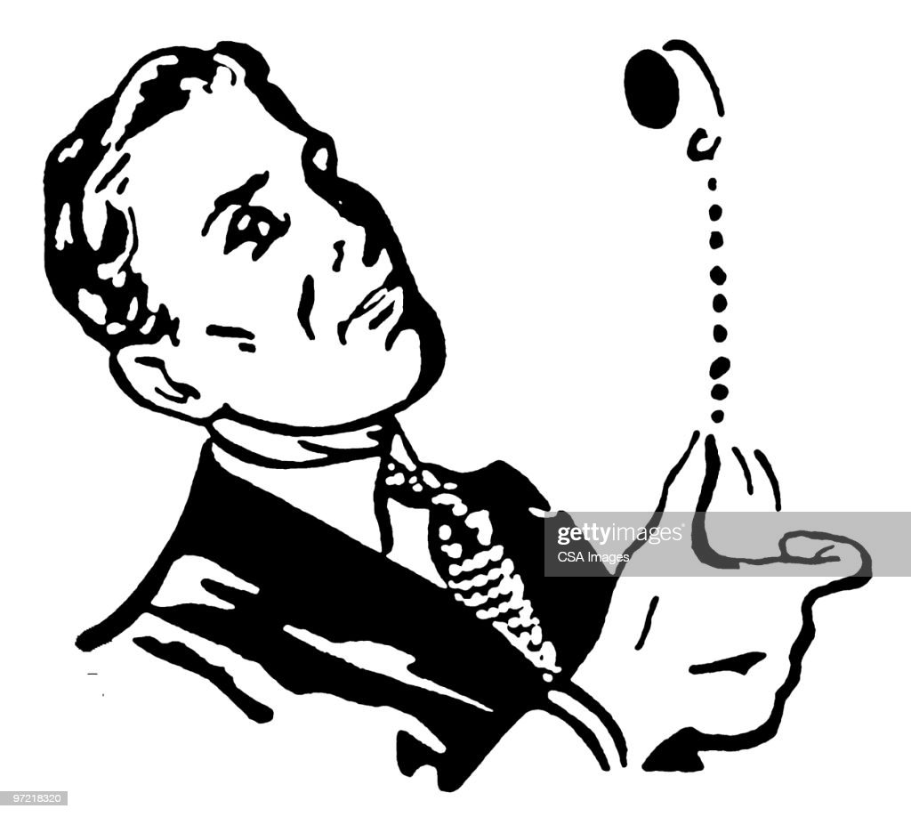 man flipping coin vector art getty images