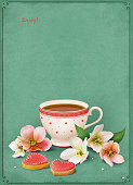 Vintage card with a cup of tea and biscuits. Computer graphics.