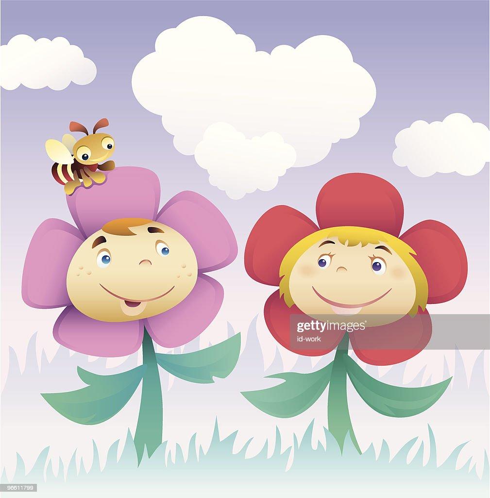 flower kids : Vector Art