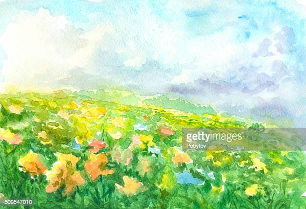 Fleurs Prairie, aquarelle