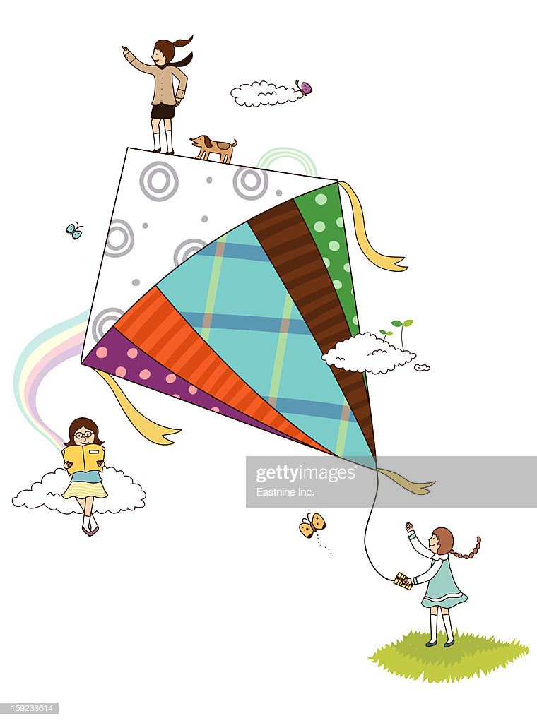 Fly a kite : Stock Illustration