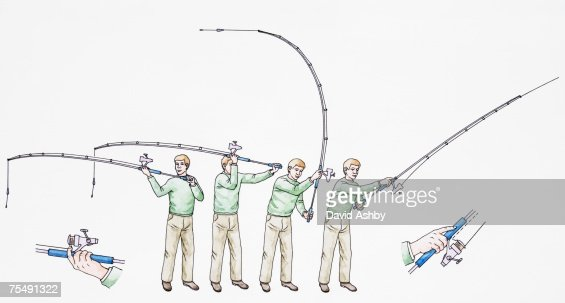 fly fishing cast techniques stepbystep stock illustration