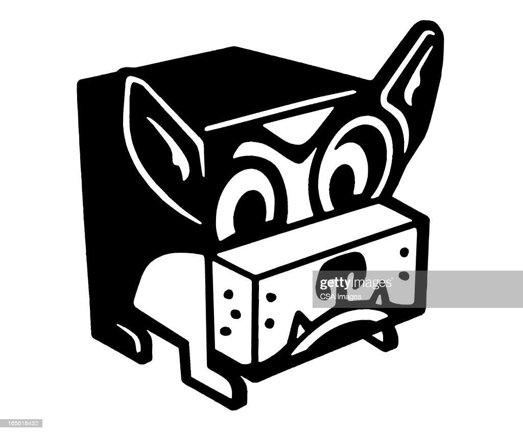 Folded Paper Dog : Stock Illustration