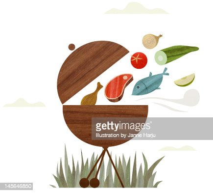 Food flying into the grill : Stock Illustration