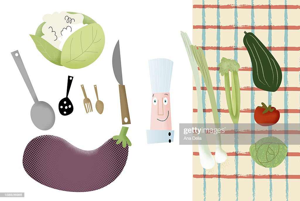 Food preparation tools and vegetables : Stock Illustration