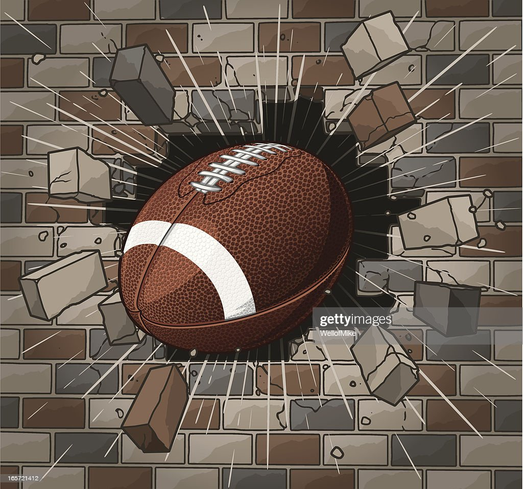 football breaking through brick wall vector art getty images