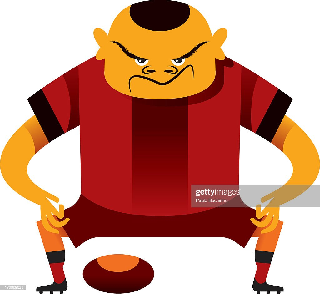 A football player ready to kick the ball : Stock Illustration