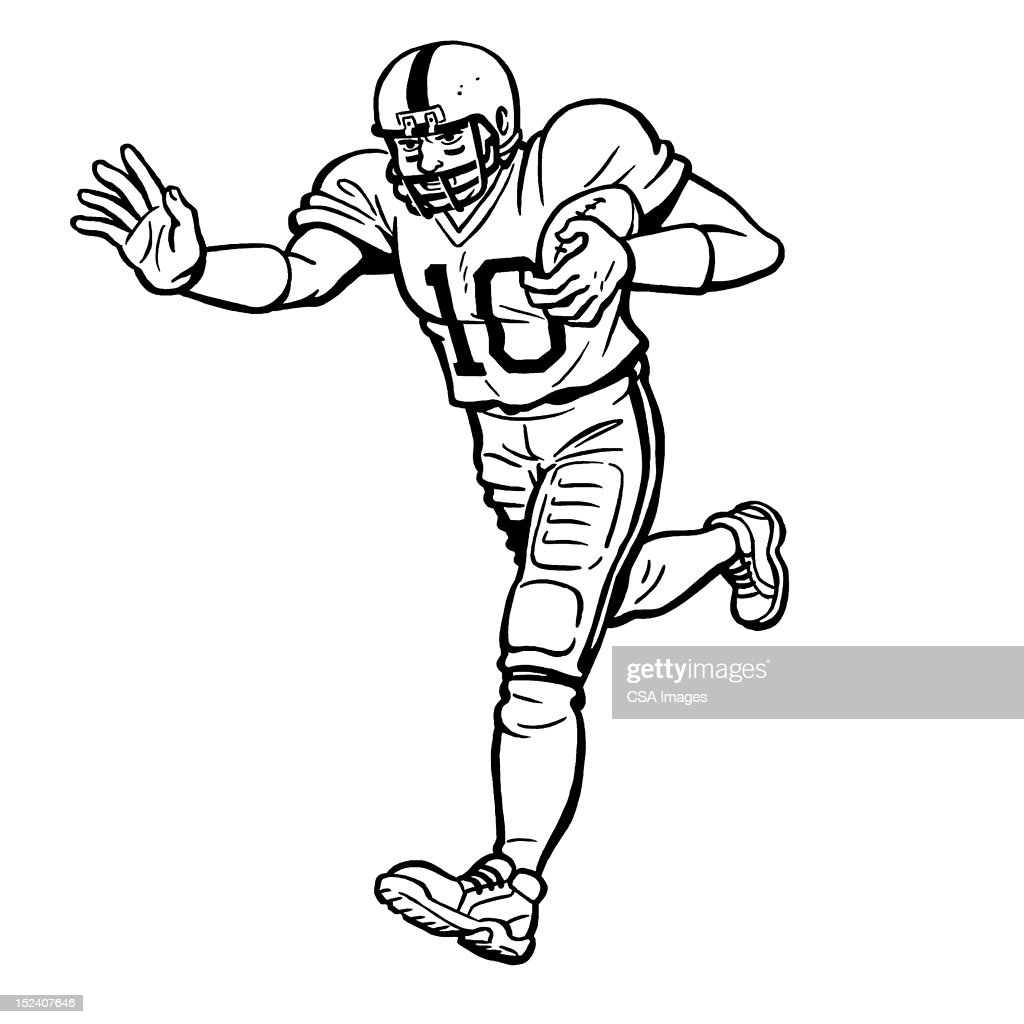 Football Player Running With Ball : Stock Illustration