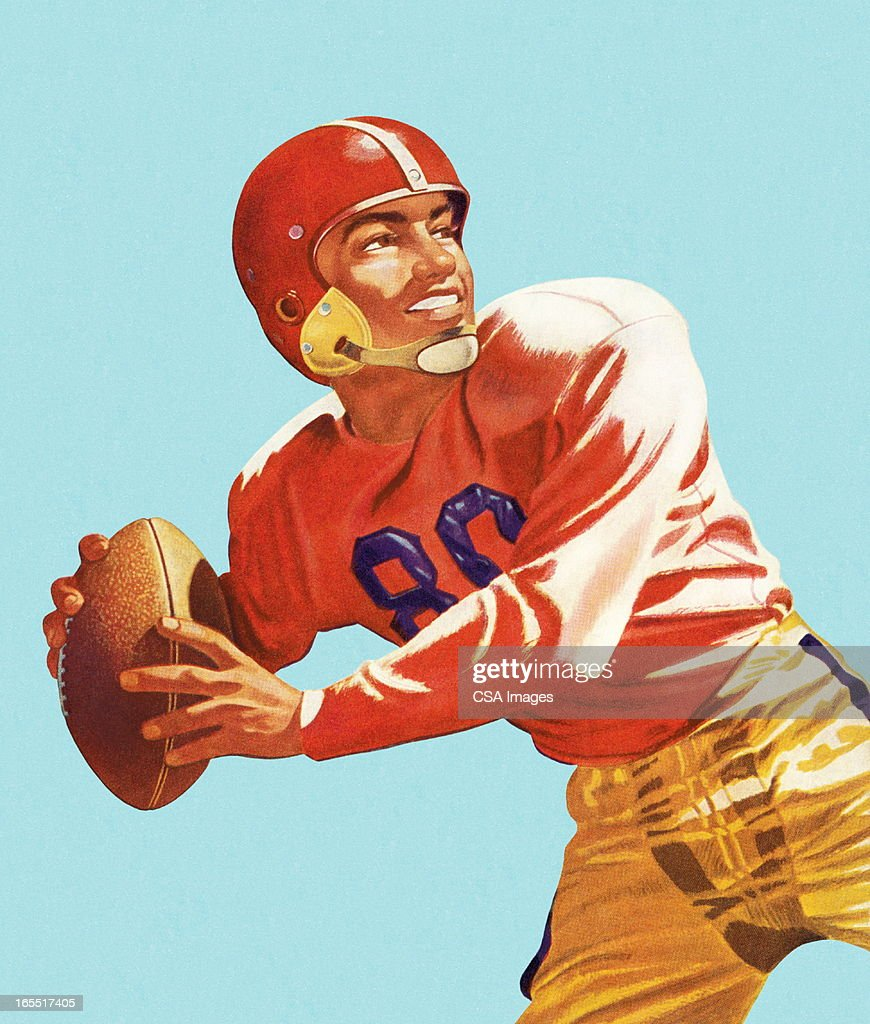 Football Player Throwing a Football : Stock Illustration