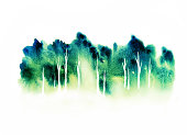 Forest from distance, hand drawn watercolor illustration