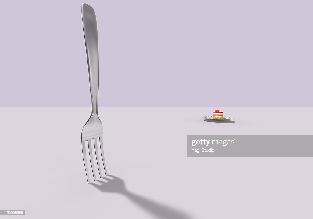 A fork and a cake : Stock Illustration
