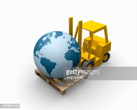 A forklift truck carries a globe : Stock Illustration