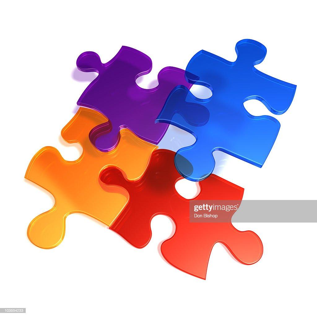 Four 3D puzzle pieces connecting : Stock Illustration