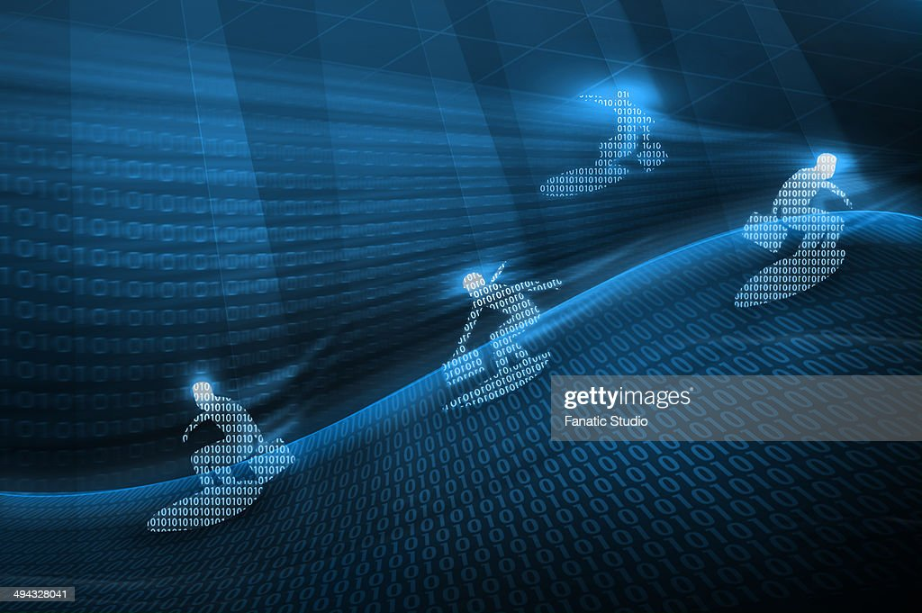 Four businessmen surfing online : Stock Illustration