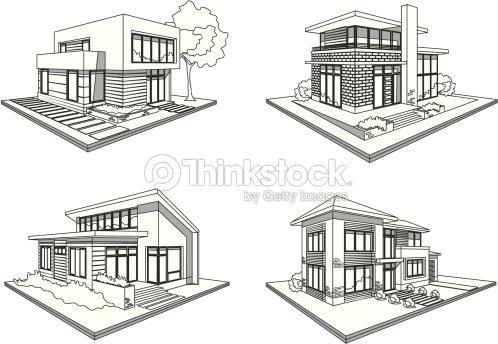 vier h user moderne villen skizze symbole vektorgrafik thinkstock. Black Bedroom Furniture Sets. Home Design Ideas