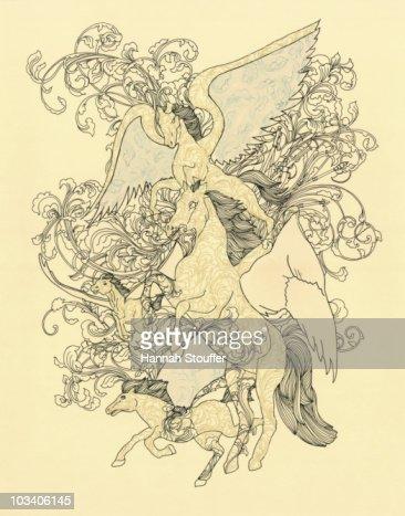 Four Pegasi : Stock Illustration