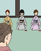 Four women attending Japanese tea ceremony, front view, rear view, Illustrative Technique