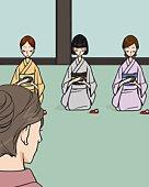 Four women attending Japanese tea ceremony, front view, rear view, Illustrative Technique