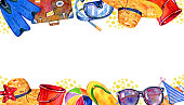 Frame with beach objects on top and bottom - flippers, suitcase, ball, mask, bucket, hat, glasses. Hand drawn watercolor illustration on white background