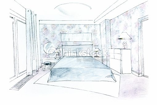 Freehand chambre image illustration thinkstock - Chambre en perspective frontale ...