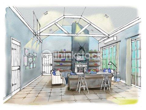 Freehand dessin int rieur perspective de la c te mobilier for Dessin architecture interieur