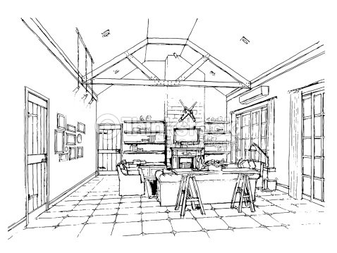 Freehand Drawing Interior Perspective Of Coastal Styl