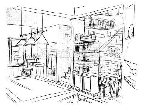 Freehand drawing interior perspective of english pub stock - Decoracion de pub ...