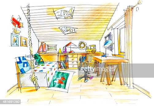 Kids Bedroom Drawing freehand drawing of a kids room stock illustration | thinkstock