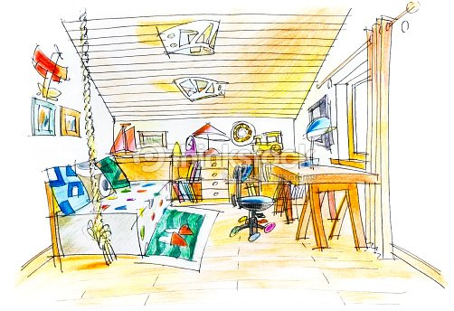 Freehand Drawing Of A Kids Room Stock Illustration Thinkstock