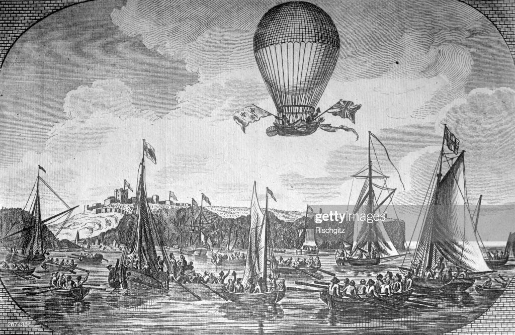 French aeronaut Jean Pierre Blanchard accompanied by American John Jeffries making the first balloon crossing of the English Channel approaching...