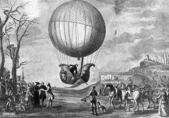 French aeronauts Jacques Charles and Nicolas Robert descending at Nesles in France watched by the Duc de Chartres and others after travelling 27...