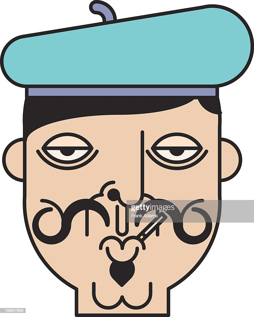 French man wearing a beret and smoking a cigarette : Stock Illustration