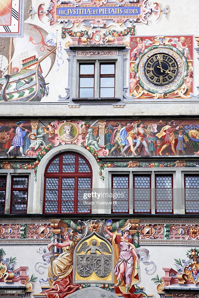 Fresco painting on facade of old town hall. : Stock Illustration