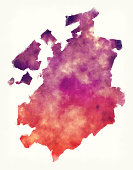 Fribourg canton watercolor map of Switzerland in front of a white background