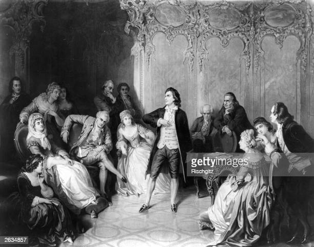 Friedrich Johann Christoph von Schiller German dramatist poet and historian gives a performance in front of the Grand Duke Charles Auguste of Weimar...