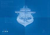 Front View Cruise Ship Blueprint