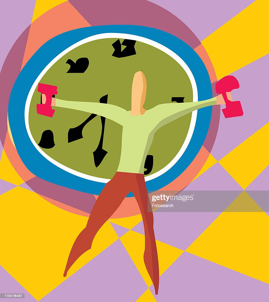 Front view of a man holding dumbbells by clock : Stock Illustration