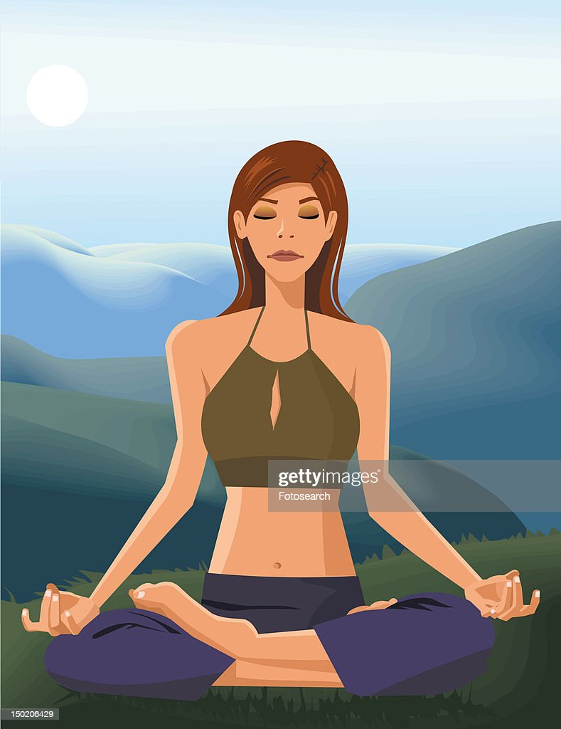 Front view of a woman doing yoga : Stock Illustration