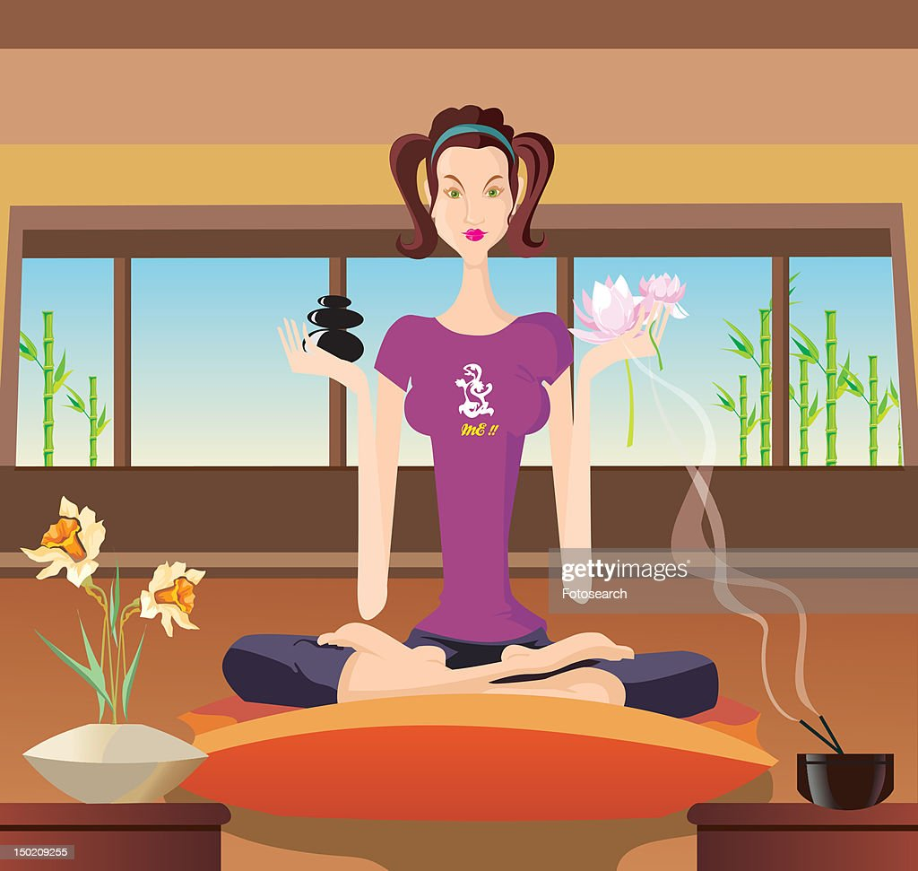 Front view of a woman exercising indoor : Stock Illustration