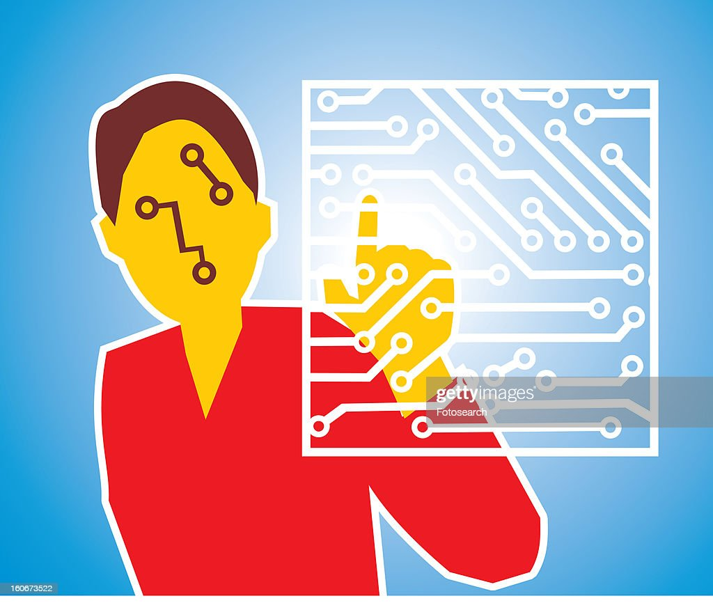 Front view of a woman touching circuit board : Stock Illustration