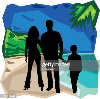 Front view of family standing together : Stock Illustration