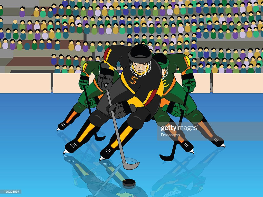 Front view of hockey players prepared for a face off : Stock Illustration