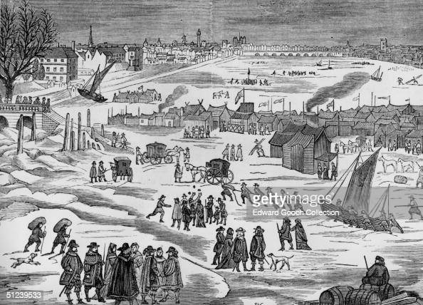 1683 Frost Fair on the Thames with tents and coaches on the ice