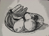 photograph of fruit bowl done in charcoal with poster edge filter in PS