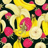 Seamless pattern of hand drawn fruits