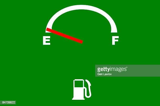 Fuel gauge indicating empty tank