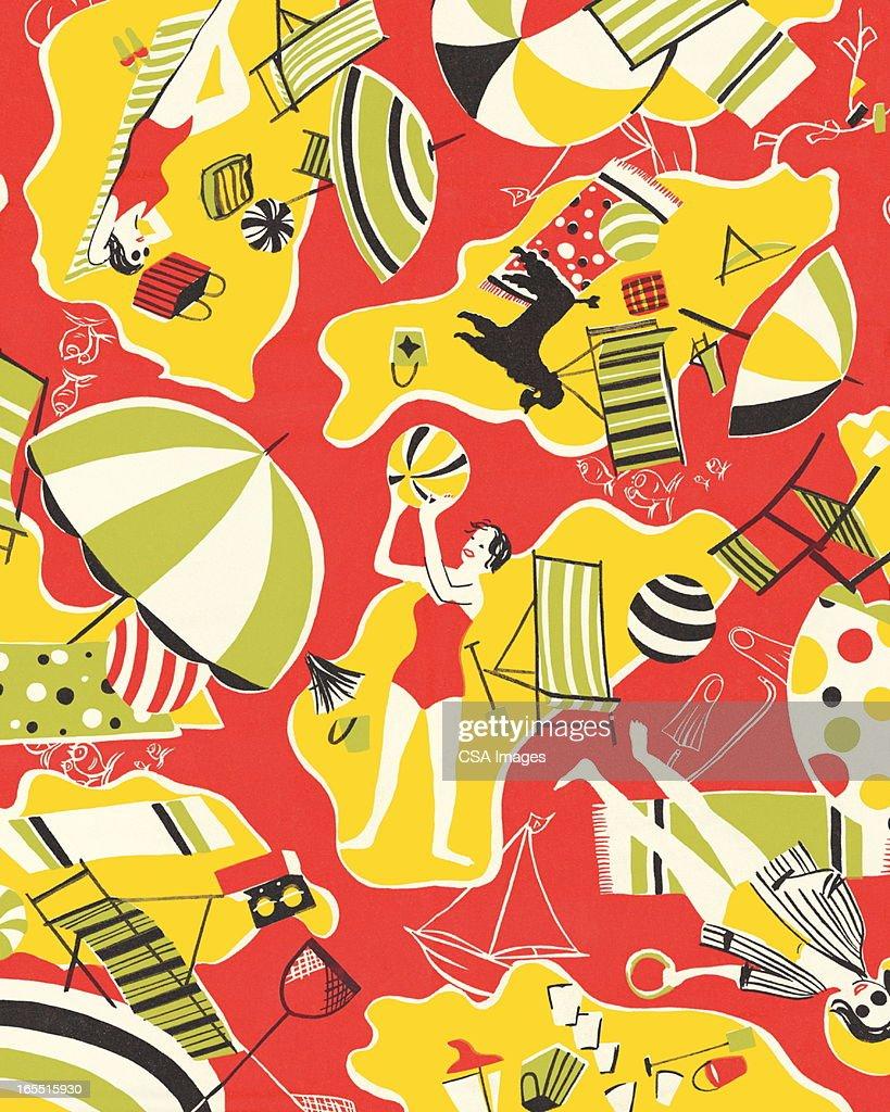 Fun at the Beach Pattern : Stock Illustration