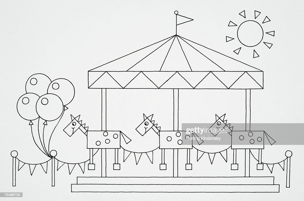 Funfair horse carousel, line drawing : Stock Illustration